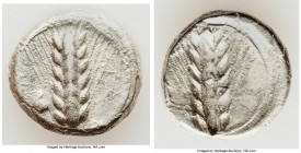 LUCANIA. Metapontum. Ca. 470-440 BC. AR stater (19mm, 7.52 gm, 7h). VF. ME-TA, barley ear with seven grains; rams head on left; guilloche border on ra...