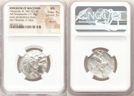 MACEDONIAN KINGDOM. Alexander III the Great (336-323 BC). AR tetradrachm (24mm, 17.12 gm, 11h). NGC MS 4/5 - 3/5, die shift. Early posthumous issue of...