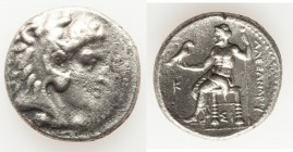 MACEDONIAN KINGDOM. Alexander III the Great (336-323 BC). AR tetradrachm (26mm, 16.87 gm, 6h). VF, porosity. Late lifetime issue of Sidon, dated Civic...