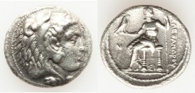 MACEDONIAN KINGDOM. Alexander III the Great (336-323 BC). AR tetradrachm (28mm, 16.40 gm, 12h). Choice VF, porosity. Early posthumous issue of Sidon, ...