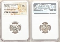 MACEDONIAN KINGDOM. Alexander III the Great (336-323 BC). AR drachm (18mm, 12h). NGC MS. Posthumous issue of Lampsacus, ca. 310-301 BC. Head of Heracl...