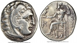 MACEDONIAN KINGDOM. Alexander III the Great (336-323 BC). AR drachm (18mm, 12h). NGC Choice VF. Early posthumous issue of Colophon, 310-301 BC. Head o...