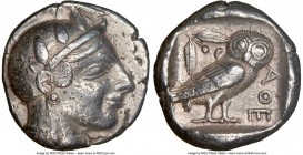 ATTICA. Athens. Ca. 465-455 BC. AR tetradrachm (24mm, 17.12 gm, 10h). NGC Choice VF 5/5 - 4/5. Head of Athena right, wearing crested Attic helmet orna...
