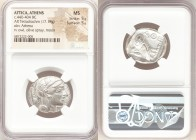 ATTICA. Athens. Ca. 440-404 BC. AR tetradrachm (25mm, 17.18 gm, 4h). NGC MS 5/5 - 5/5. Mid-mass coinage issue. Head of Athena right, wearing crested A...