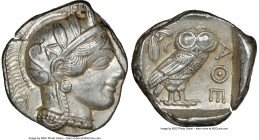 ATTICA. Athens. Ca. 440-404 BC. AR tetradrachm (26mm, 17.21 gm, 9h). NGC Choice AU 5/5 - 5/5. Mid-mass coinage issue. Head of Athena right, wearing cr...