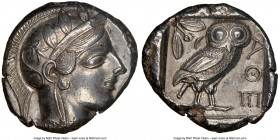ATTICA. Athens. Ca. 440-404 BC. AR tetradrachm (26mm, 17.05 gm, 12h). NGC Choice AU 4/5 - 4/5. Mid-mass coinage issue. Head of Athena right, wearing c...
