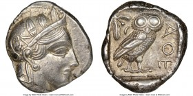 ATTICA. Athens. Ca. 440-404 BC. AR tetradrachm (24mm, 17.03 gm, 6h). NGC AU 4/5 - 4/5. Mid-mass coinage issue. Head of Athena right, wearing crested A...