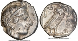ATTICA. Athens. Ca. 440-404 BC. AR tetradrachm (25mm, 17.16 gm, 9h). NGC AU 5/5 - 3/5. Mid-mass coinage issue. Head of Athena right, wearing crested A...