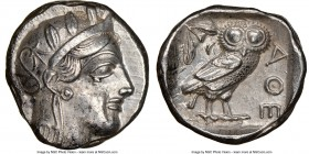 ATTICA. Athens. Ca. 440-404 BC. AR tetradrachm (24mm, 17.14 gm, 4h). NGC Choice XF 5/5 - 4/5. Mid-mass coinage issue. Head of Athena right, wearing cr...