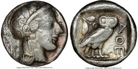 ATTICA. Athens. Ca. 440-404 BC. AE/AR fourree tetradrachm (24mm, 17.74 gm, 11h). NGC VF 5/5 - 2/5, core visible. Ancient forgery of mid-mass coinage i...
