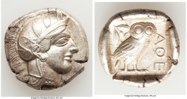 ATTICA. Athens. Ca. 440-404 BC. AR tetradrachm (27mm, 17.19 gm, 1h). XF. Mid-mass coinage issue. Head of Athena right, wearing crested Attic helmet or...