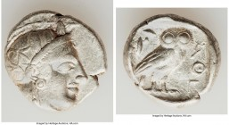 ATTICA. Athens. Ca. 440-404 BC. AR tetradrachm (24mm, 17.16 gm, 4h) About VF. Mid-mass coinage issue. Head of Athena right, wearing crested Attic helm...