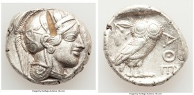 ATTICA. Athens. Ca. 440-404 BC. AR tetradrachm (25mm, 17.19 gm, 11h). XF, test cut. Mid-mass coinage issue. Head of Athena right, wearing crested Atti...