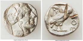 ATTICA. Athens. Ca. 440-404 BC. AR tetradrachm (24mm, 17.18 gm, 11h). XF, test cuts. Mid-mass coinage issue. Head of Athena right, wearing crested Att...