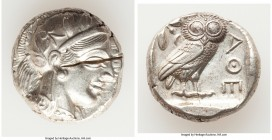 ATTICA. Athens. Ca. 440-404 BC. AR tetradrachm (24mm, 17.19 gm, 4h). AU, test cuts. Mid-mass coinage issue. Head of Athena right, wearing crested Atti...