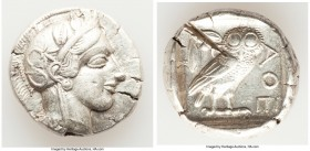 ATTICA. Athens. Ca. 440-404 BC. AR tetradrachm (25mm, 17.13 gm, 11h). XF, test cut. Mid-mass coinage issue. Head of Athena right, wearing crested Atti...