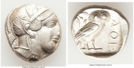 ATTICA. Athens. Ca. 440-404 BC. AR tetradrachm (24mm, 17.06 gm, 3h). Choice XF. Mid-mass coinage issue. Head of Athena right, wearing crested Attic he...
