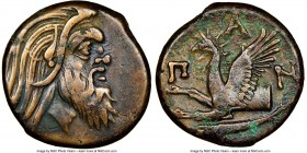 CIMMERIAN BOSPORUS. Panticapaeum. 4th century BC. AE (20mm, 11h). NGC VF. Head of bearded Pan right / Π-A-N, forepart of griffin left, sturgeon left b...