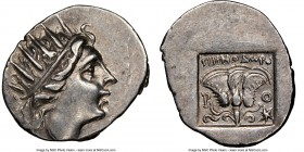 CARIAN ISLANDS. Rhodes. Ca. 88-84 BC. AR drachm (17mm, 11h). NGC AU. 'Plinthophoric' coinage, Menodorus, magistrate. Radiate head of Helios right / MH...