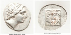 CARIAN ISLANDS. Rhodes. Ca. 88-84 BC. AR drachm (16mm, 2.51 gm, 12h). Choice VF. Plinthophoric standard, Euphanes, magistrate. Radiate head of Helios ...