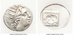 CARIAN ISLANDS. Rhodes. Ca. 88-84 BC. AR drachm (15mm, 2.41 gm, 12h). XF. Plinthophoric standard, Zenon, magistrate. Radiate head of Helios right / ZH...