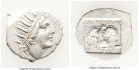 CARIAN ISLANDS. Rhodes. Ca. 88-84 BC. AR drachm (16mm, 2.26 gm, 12h). XF. Plinthophoric standard, Lysimachus, magistrate. Radiate head of Helios right...