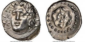 CARIAN ISLANDS. Rhodes. Ca. 84-30 BC. AR drachm (20mm, 4.24 gm, 12h). NGC Choice AU 5/5 - 4/5. Radiate head of Helios facing, turned slightly left, ha...