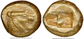 LYDIAN KINGDOM. Alyattes or Walwet (ca. 610-546 BC). EL third-stater or trite (13mm, 4.74 gm). NGC Choice XF 4/5 - 4/5. Uninscribed, Lydo-Milesian sta...