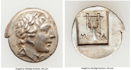 LYCIAN LEAGUE. Masicytes. Ca. 48-20 BC. AR hemidrachm (15mm, 1.63 gm, 1h). XF. Series 1. Laureate head of Apollo right; Λ-Y below / M-A, cithara (lyre...