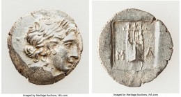 LYCIAN LEAGUE. Masicytes. Ca. 48-20 BC. AR hemidrachm (15mm, 1.72 gm, 12h). Choice AU. Series 1. Laureate head of Apollo right; Λ-Y below / M-A, citha...