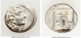 LYCIAN LEAGUE. Masicytes. Ca. 48-20 BC. AR hemidrachm (16mm, 1.87 gm, 12h). Choice AU. Series 1. Laureate head of Apollo right; Λ-Y below / M-A, citha...