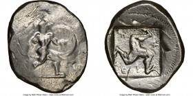 PAMPHYLIA. Aspendus. Ca. mid-5th century BC. AR stater (26mm, 10.71 gm, 2h). NGC XF 3/5 - 4/5, overstruck. Helmeted nude hoplite advancing right, shie...
