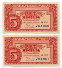 Czechoslovakia Lot of 5 Korun 1949 With Consecutive Numbers