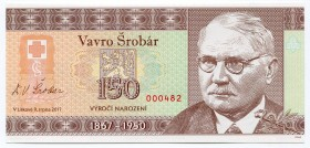 "Czech Republic Note ""150th Birthday Anniversary of Vavro Šrobár"" 2017