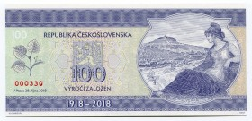 "Czech Republic Note ""100th Anniversary of the First Republic"" 2018