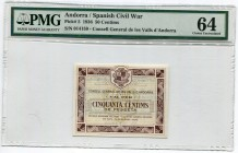 Andorra 50 Centims 1936 PMG 64