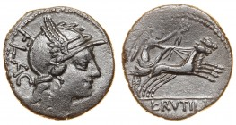 Roman Republic L. Rutilius Flaccus AE Denarius 77 B.C.
