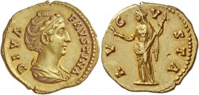 Diva Faustina I, wife of Antoninus Pius. Aureus after 141, AV 7.43 g. DIVA – FAVSTINA Draped bust r., her hair bound with pearls and piled up on top o...