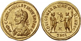 Diocletian, 284 – 305. Aureus, Antiochia circa 286, AV 6.33 g. IMP C C VAL DIOCLETIANVS P F AVG Laureate and cuirassed bust l., holding eagle-tipped s...