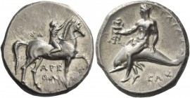 Calabria, Tarentum. Nomos circa 302-280 BC, AR 7.88 g. Boy rider r., crowning his horse; above, ΣΑ and below horse, ΑΡΕ / ΘΩΝ. Rev. ΤΑΡΑΣ Oecist ridin...