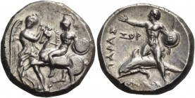 Calabria, Tarentum. Nomos circa 281-270, AR 7.79 g. Nike restraining horse prancing l.; the rider holds shield and spear. Rev. ΤΑΡΑΣ Dolphin rider l.,...