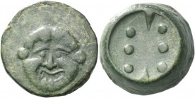 Himera. Heavy hemilitra circa 430-409, Æ 31.04 g. Gorgoneion facing with protruding tongue. Rev. Six pellets vertically disposed; between them, above ...