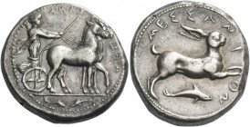 Messana. Tetradrachm circa 420-413, AR 17.15 g. ΜΕΣ – ΣΑΝΑ retrograde Biga of mules driven r. by charioteer, wearing long chiton and holding reins in ...