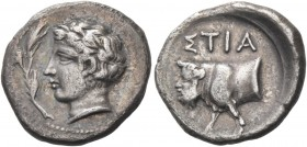 Stiela. Drachm circa 400, AR 4.02 g. Laureate youthful head l.; to l., branch. Rev. ΣΤΙΑ Forepart of man-headed bull l. Mirone, Stiela, pl. 3, 3 (thes...