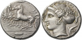 Syracuse. Tetradrachm circa 405-400, AR 17.26 g. Prancing quadriga driven l. by charioteer holding kentron and reins; above, Nike flying r. to crown h...