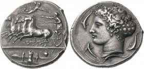 Syracuse. Decadrachm unsigned work by Kimon circa 404-400, AR 43.42 g. Fast quadriga driven l. by charioteer, holding reins and kentron; in field abov...