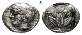 Macedon. Chalkidian League 420-390 BC. Trihemiobol AR
