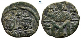 Constantine V Copronymus, with Leo IV AD 741-775. Constantinople. Follis Æ
