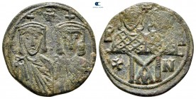 Leo IV with Constantine VI, Constantine V and Leo III. AD 775-780. Constantinople. Follis Æ