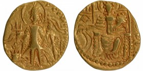 Gold Dinar Coin of Vasudeva II of Kushan Dynasty of Ardokhsho type.